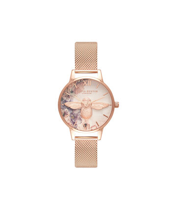 OLIVIA BURTON LONDON  Watercolour Florals Rose Gold Mesh OB16PP40 – Midi Dial Round in Rose Gold - Front view