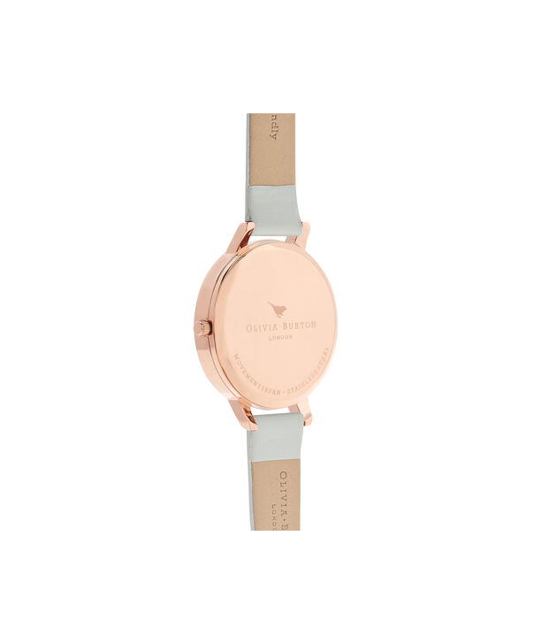 OLIVIA BURTON LONDON  Big Dial Grey & Rose Gold Watch OB16BDV02 – Big Dial Round in White and Grey - Back view