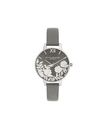 OLIVIA BURTON LONDON Lace Detail Sunray Demi Dial WatchOB16MV96 – Demi Dial in grey and Silver - Front view