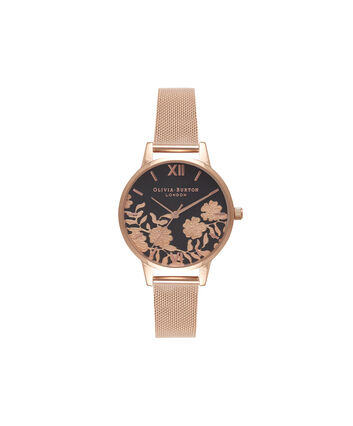 OLIVIA BURTON LONDON Lace Detail Black Dial & Rose Gold Mesh Watch OB16MV57 – Midi Dial in Black and Rose Gold - Front view