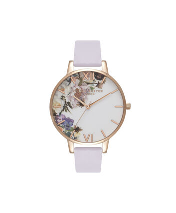 OLIVIA BURTON LONDON  Enchanted Garden Parma Violet & Rose Gold OB16EG110 – Big Dial Round in Rose Gold and Parma Violet - Front view