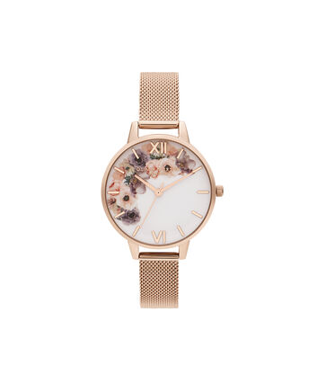 OLIVIA BURTON LONDON Watercolour Florals Pale Rose Gold MeshOB16PP57 – Watercolour Florals Pale Rose Gold Mesh - Front view