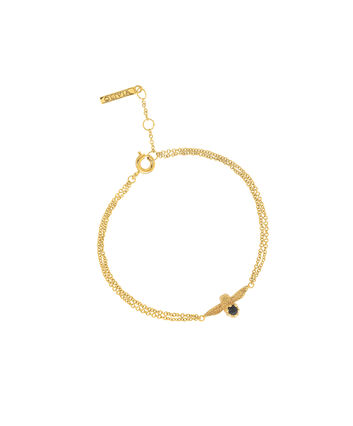 OLIVIA BURTON LONDON  3D Bee Bejewelled Chain Bracelet Gold with Black Onyx Gemstone OBJ16AMB25 – 3D Bee Bejewelled Chain Bracelet - Front view