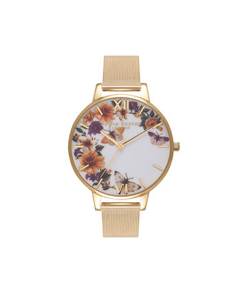 OLIVIA BURTON LONDON  Enchanted Garden Butterflies Gold Mesh Watch OB16FS90 – Big Dial Round in White and Gold - Front view