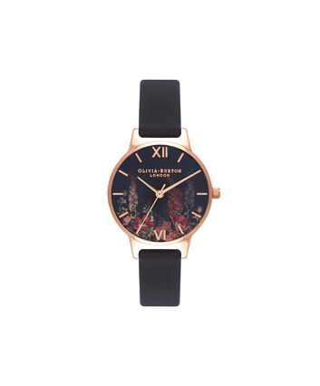 OLIVIA BURTON LONDON  Dark Bouquet Rose Gold Watch OB16WG43 – Midi Dial Round in Rose Gold - Front view