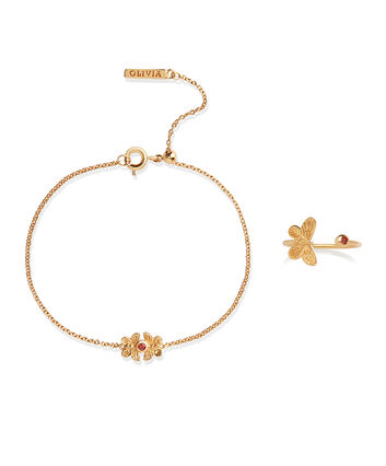 OLIVIA BURTON LONDON 3D Bejewelled Butterfly Gift Set Gold & Red CrystalOBJGSET28 – Bracelet in Gold - Front view