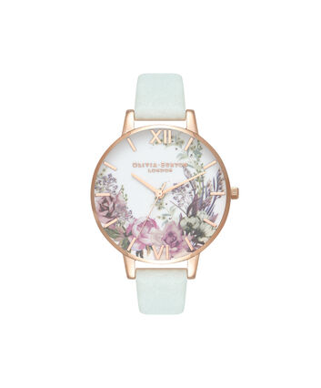 OLIVIA BURTON LONDON  Enchanted Garden Sage & Rose Gold OB16EG105 – Big Dial Round in Gold - Front view