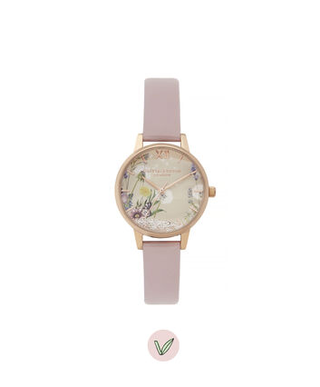 OLIVIA BURTON LONDON Wishing Watch Vegan Friendly Midi Dial WatchOB16SG04 – Midi Dial in Pink and Rose Gold - Front view