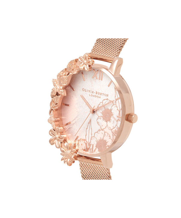 OLIVIA BURTON LONDON  Case Cuffs Rose Gold Mesh OB16CB13 – Midi Dial Round in Rose Gold - Side view