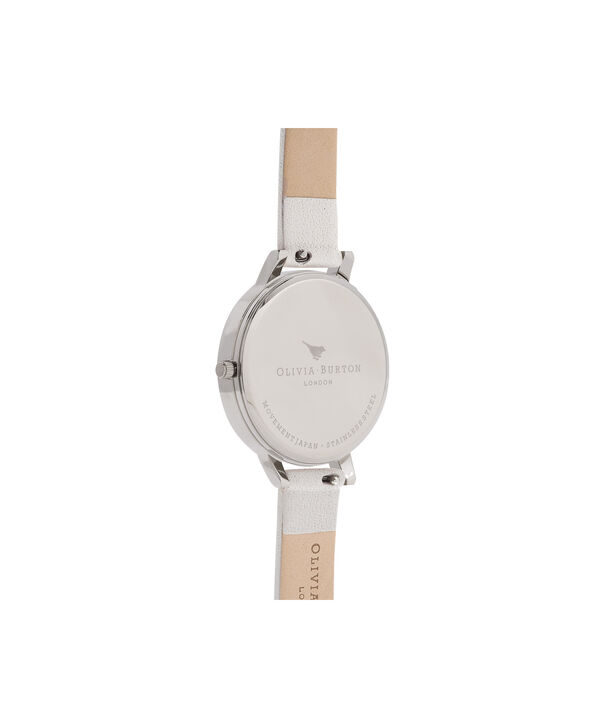 OLIVIA BURTON LONDON  Case Cuff Lace Detail Blush & Silver OB16CB14 – Big Dial Round in Silver and Pink - Back view