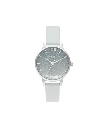 OLIVIA BURTON LONDON Wishing Wave Glitter Dial, Eco Friendly Light Gray & SliverOB16US27 – SHOPBAG_LABEL - Front view