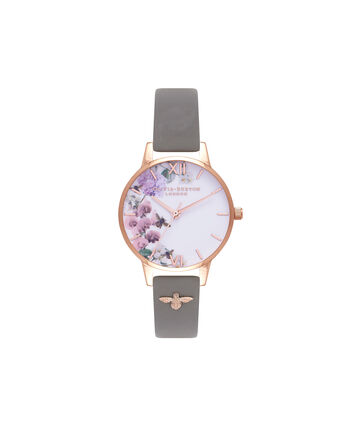 OLIVIA BURTON LONDON  Enchanted Garden Grey & Rose Gold Watch OB16ES06 – Midi Dial Round in Rose Gold and Grey - Front view