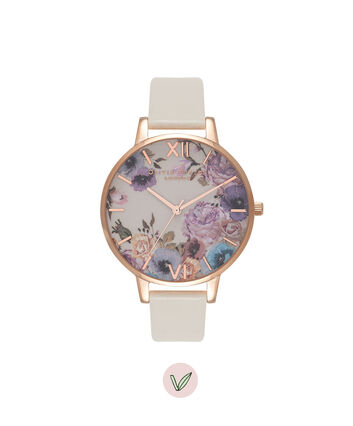 OLIVIA BURTON LONDON  Vegan Friendly Enchanted Garden Nude & Rose Gold Watch OB16VE07 – Big Dial Round in Floral and Nude - Front view