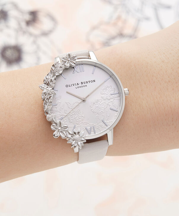 OLIVIA BURTON LONDON  Case Cuff Lace Detail Blush & Silver OB16CB14 – Big Dial Round in Silver and Pink - Other view