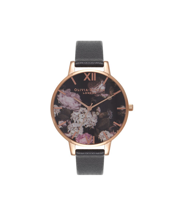 OLIVIA BURTON LONDON  Signature Floral Black & Rose Gold Watch OB15WG12 – Big Dial Round in Floral and Black - Front view