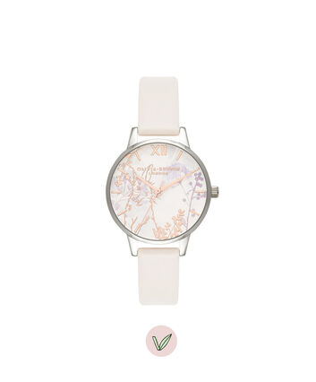 OLIVIA BURTON LONDON Illustrated Animals Vegan Bunny, Blush, Rose Gold & Silver OB16WL71 – Midi Dial Round in Rose Gold and Pink - Front view