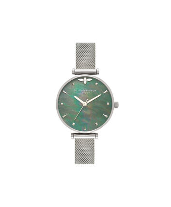OLIVIA BURTON LONDON Queen BeeOB16AM151 – Midi Dial Round in Silver - Front view