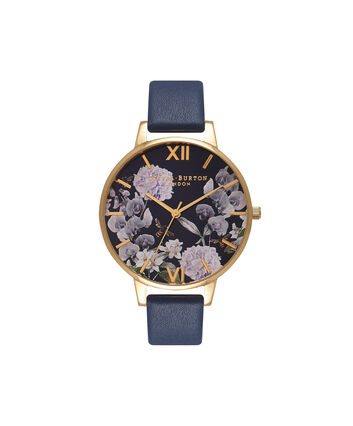 OLIVIA BURTON LONDON  Enchanted Garden Bee Blooms Midnight Dial & Gold Watch OB16EG55 – Big Dial Round in Floral and Navy - Front view