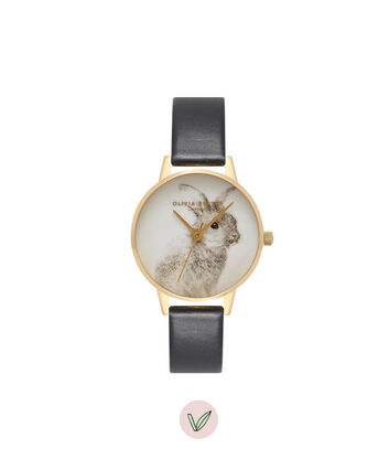 OLIVIA BURTON LONDON  Vegan Friendly Woodland Bunny Black & Gold Watch OB15WL57 – Midi Dial Round in White and Black - Front view