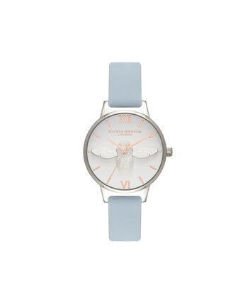 OLIVIA BURTON LONDON  Midi 3D Bee Chalk Blue, Silver & Rose Gold Watch OB16AM125 – Midi Dial Round in Silver and Blue - Front view
