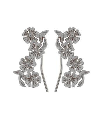 OLIVIA BURTON LONDON  Lace Detail Crawler Earrings Silver OBJ16LDE06 – Lace Detail Crawler Earrings - Front view