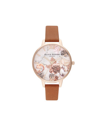 OLIVIA BURTON LONDON Marble Florals Honey Tan & Rose GoldOB16CS30 – SHOPBAG_LABEL - Front view