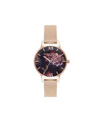 OLIVIA BURTON LONDON  Dark Bouquet Rose Gold Mesh Watch OB16WG44 – Midi Dial Round in Rose Gold - Front view