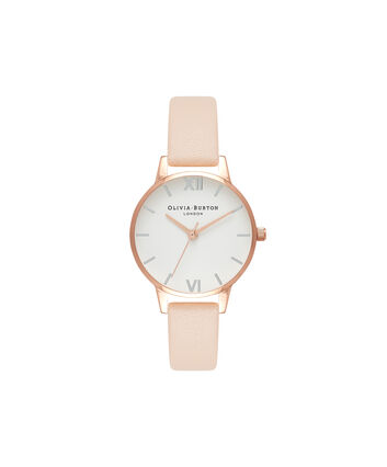 OLIVIA BURTON LONDON  Midi Dial Nude Peach, Silver & Rose Gold Watch OB16MDW21 – Midi Dial Round in White and Peach - Front view