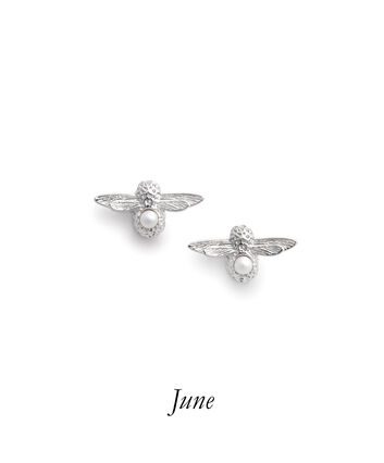 OLIVIA BURTON LONDON Celebration Bee Studs Silver & Pearl OBJAME115 – Celebration Bee Studs Silver & Pearl - Front view