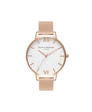 OLIVIA BURTON LONDON  Big Dial Rose Gold Mesh Watch OB15BD79 – Big Dial Round in White and Rose Gold - Front view