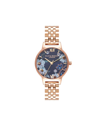 OLIVIA BURTON LONDON Bejewelled FloralsOB16BF17 – Midi Dial Round in Rose Gold - Front view