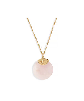 OLIVIA BURTON LONDON Semi Precious Necklace Gold & Rose QuartzOBJ16AMN40 – Pendant in  and Gold - Front view