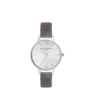 OLIVIA BURTON LONDON Sunray Demi Dial Watch with Lilac VelvetOB16DE04 – Demi Dial in parma violet and Silver - Front view