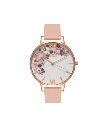 OLIVIA BURTON LONDON  Signature Floral Dusty Pink & Rose Gold Watch OB15WG10 – Big Dial Round in White and Pink - Front view