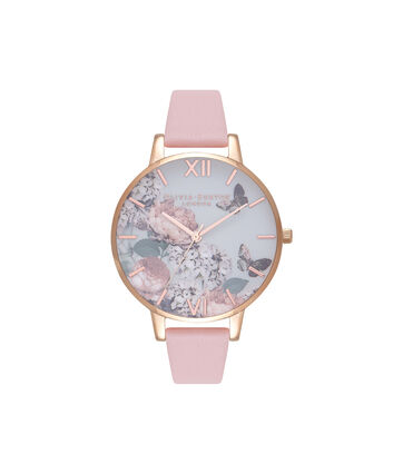 OLIVIA BURTON LONDON Signature FloralsOB16WG40 – Big Dial Round in White and Pink - Front view