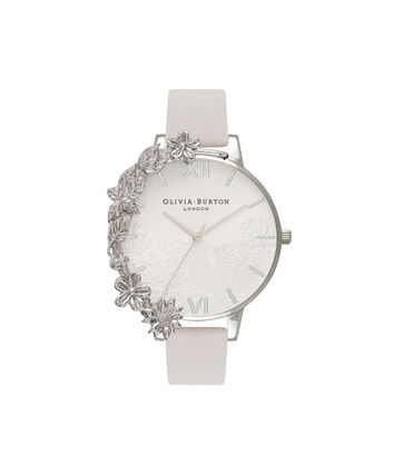 OLIVIA BURTON LONDON  Case Cuff Lace Detail Blush & Silver OB16CB14 – Big Dial Round in Silver and Pink - Front view
