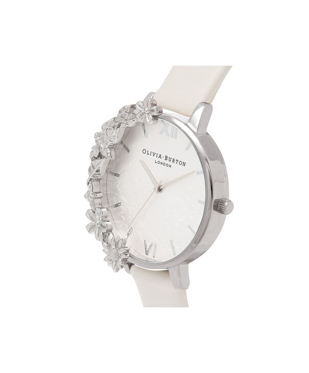 OLIVIA BURTON LONDON  Case Cuff Lace Detail Blush & Silver OB16CB14 – Big Dial Round in Silver and Pink - Side view