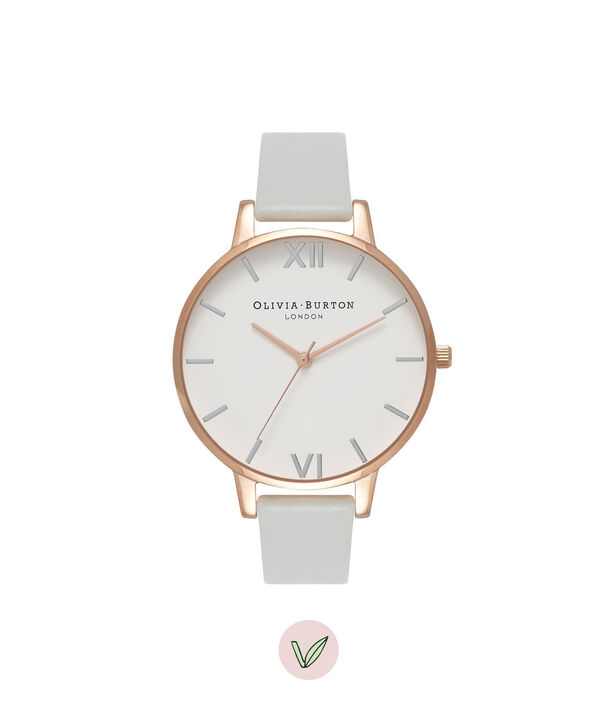 OLIVIA BURTON LONDON  Big Dial Grey & Rose Gold Watch OB16BDV02 – Big Dial Round in White and Grey - Front view