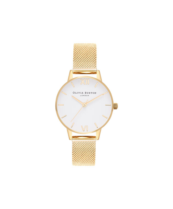 OLIVIA BURTON LONDON  White Dial Gold Mesh Watch OB16MDW35 – Midi Dial in White and Gold - Front view