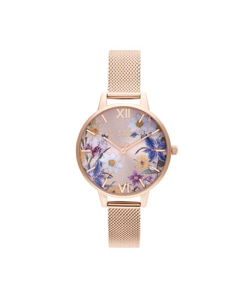 OLIVIA BURTON LONDON Best In Show Blush Sunray & Pale Rose Gold MeshOB16EG141 – Best In Show Blush Sunray & Pale Rose Gold Mesh - Front view