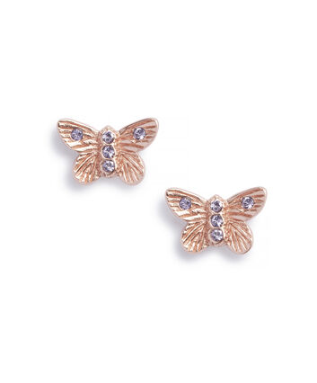 OLIVIA BURTON LONDON Bejewelled Butterfly Earrings Rose Gold & TanzaniteOBJ16MBE07 – Stud Earrings in  and Rose Gold - Front view