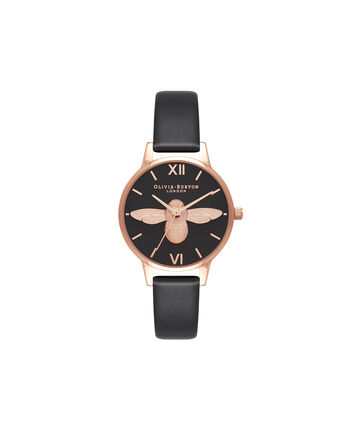 OLIVIA BURTON LONDON  Vegan Friendly Black & Rose Gold Watch OB16VE10 – Midi Dial Round in Black - Front view