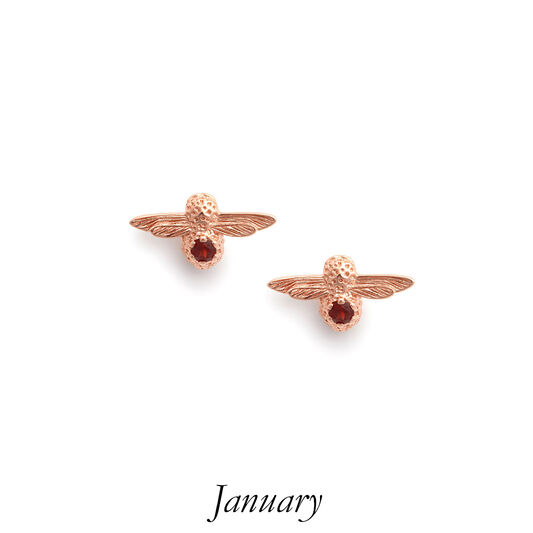 Celebration Bee Studs Rose Gold & Garnet