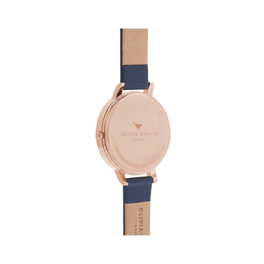 Big Dial Navy And Rose Gold Watch