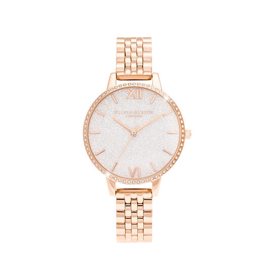 White Demi Glitter Dial Sparkle Bezel Rose Gold Watch