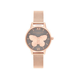 3D Butterly  Grey Dial & Rose Gold Mesh