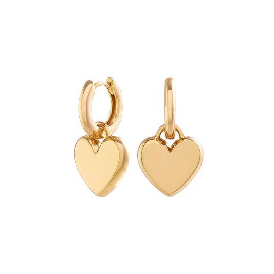 Classic Heart Gold Huggie Hoops