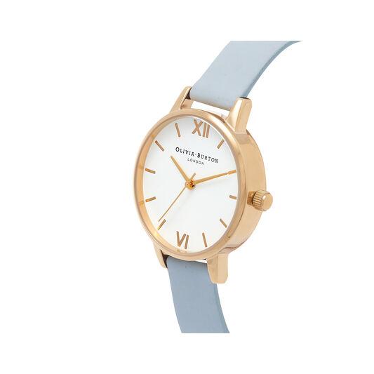 Midi White Dial Chalk Blue & Gold Watch