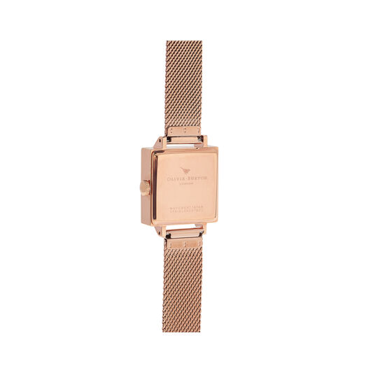 Olivia Burton Square Dial 3D Bee Rose Gold Mesh Watch
