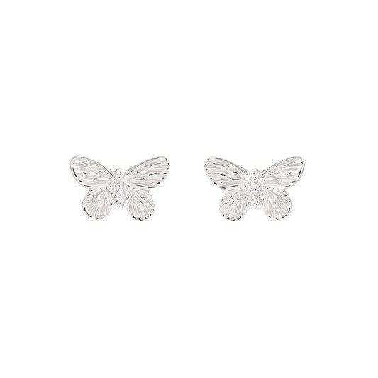 3D Butterfly Stud Earrings Silver
